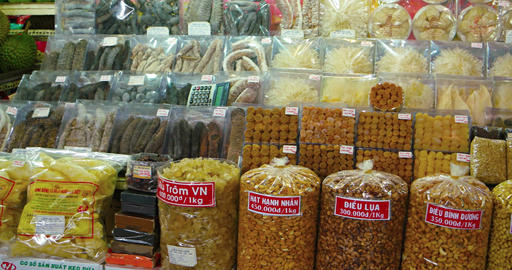 Assorted dried food products at a public market in Ho Chi Minh City Footage