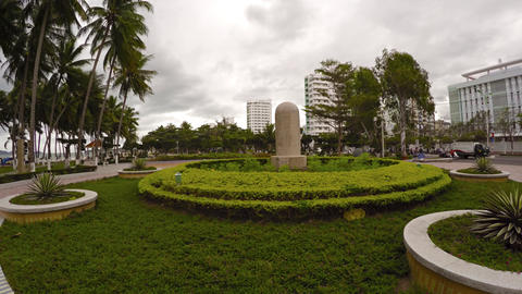 Beautifully landscaped gardens of an oceanfront public park in Nha Trang Footage