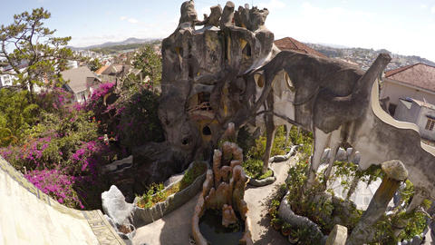 Overlooking view of Hang Nga Crazy House. an architectural attraction in Dalat Footage