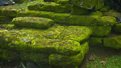 Mossy heap of stone rubble fromancient rock walls of temple ruins Footage