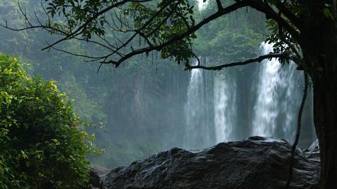 Misty Falls at Phnom Kulen National Park. with Sound Footage