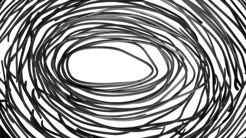 Monochrome Animation of Spiral Lines Filling the Screen and Erasing Themselves Animation