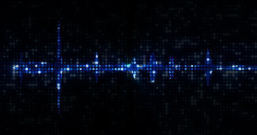 blue digital equalizer audio spectrum sound waves on black background, stereo sound effect signal Live Action