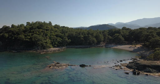 Beautiful shoreline in Turkey, covered in rocks and forests, aerial view, 4k Live Action