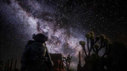 Astronaut and Star Milky Way Formation in Death Valley Live Action