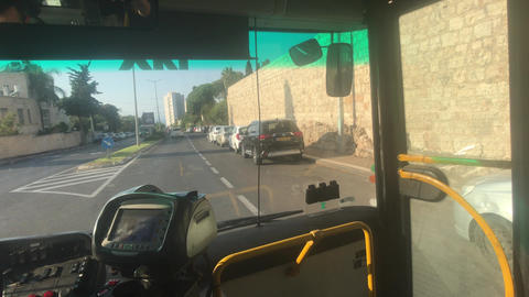 Haifa, Israel - city bus traffic at speed Live Action