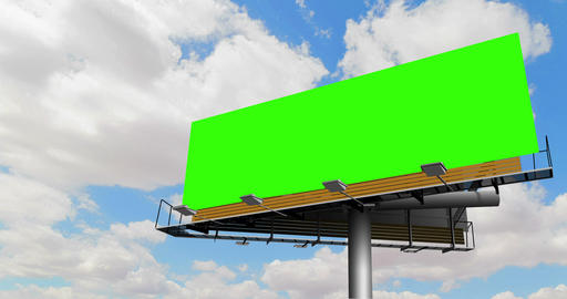 empty billboard with chroma key green screen, on blue sky with clouds, timelapse movement Live Action