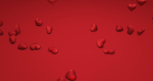 Romantic cute red falling polygonal hearts. Valentines Day. event background. 3D Animation