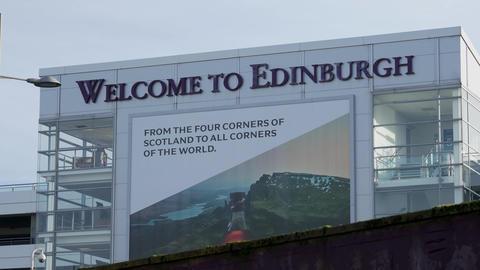 Welcome to Edinburgh at Edinburgh Airport - EDINBURGH, SCOTLAND - JANUARY 10 Live Action