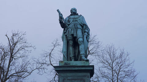 Statue of a Field Marshal at Edinburgh Castle - EDINBURGH, SCOTLAND - JANUARY 10 Live Action