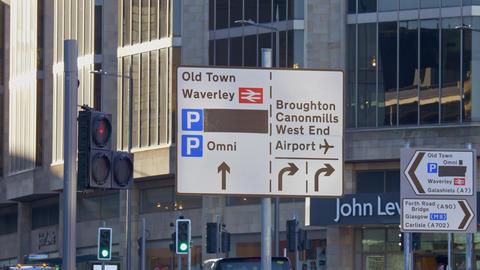 Direction signs in the street of Edinburgh - EDINBURGH, SCOTLAND - JANUARY 10 Live Action