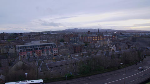 Aerial view over the city of Edinburgh in the evening - EDINBURGH, SCOTLAND - Live Action