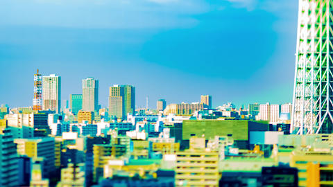A timelapse near Tokyo sky tree at the urban city in Tokyo tiltshift panning Live Action