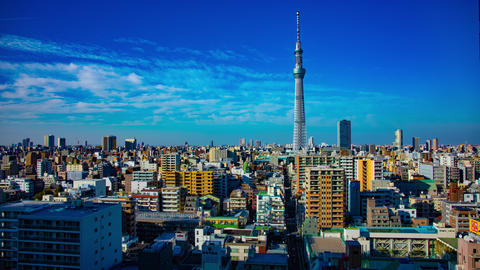 A timelapse near Tokyo sky tree at the urban city in Tokyo wide shot tilt Live Action