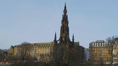 Scotts Monument in Edinburgh - EDINBURGH, SCOTLAND - JANUARY 10, 2020 Live Action