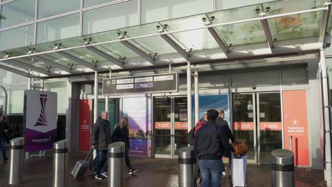 Edinburgh Airport in Scotland - EDINBURGH, SCOTLAND - JANUARY 10, 2020 Live Action