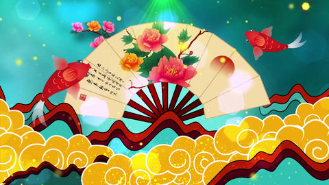 Beautiful chinese style fan auspicious cloud background…, Stock Animation