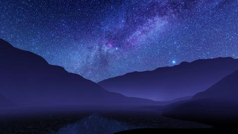 Nighttime mountain landscape with milky way galaxy in night sky Live Action