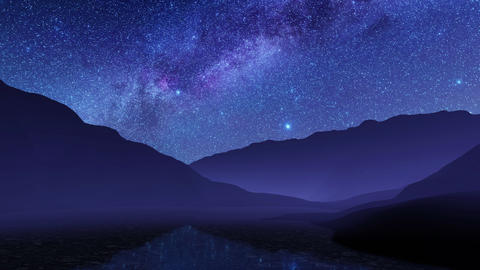 Night sky with milky way galaxy over mountain lake ライブ動画