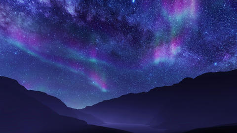 Aurora Borealis in starry night sky over mountain landscape Live Action