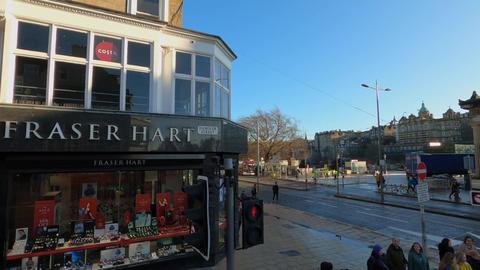 Crossing Princes Street in Edinburgh - EDINBURGH, UNITED KINGDOM - JANUARY 11 Live Action