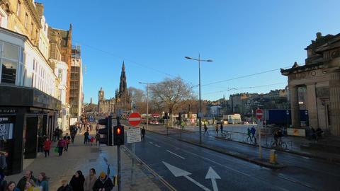 Crossing Princes Street in Edinburgh - EDINBURGH, UNITED… Stock Video Footage