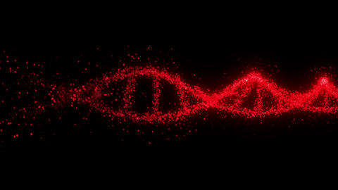 Molecule of DNA system with red blood. Blood floating through. Loop animation. Medical research Animation