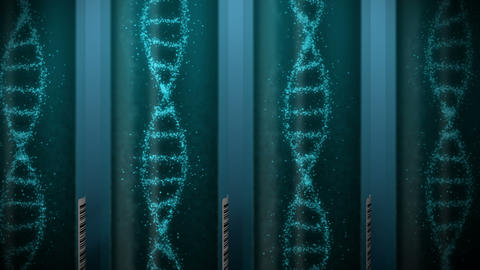 DNA molecule in test tube. DNA helix as a symbol for genetics. Test equipment. Medicine and Animation