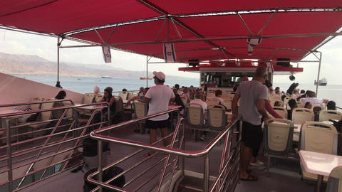 Eilat, Israel - October 24, 2019: tourists on a pleasure boat part 6 Live Action