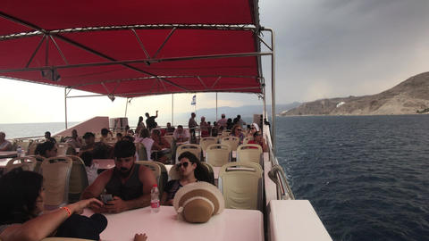 Eilat, Israel - October 24, 2019: tourists on a pleasure boat part 10 Live Action