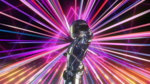 Retro-futuristic 80s CG Astronaut dancing on Disco Neon Lights background Stage Animation