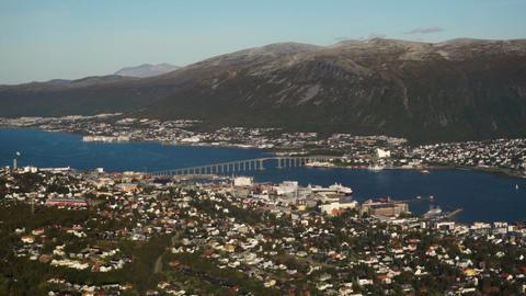 Tromso city airport flight arrival aerial plane window view Live Action