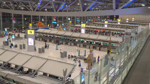 Departure floor of Suvarnabhumi Airport or New Bangkok International Airport early in the morning Live Action