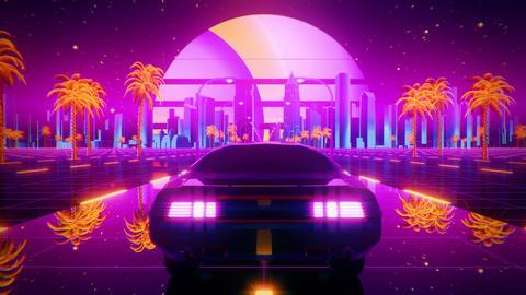3D Retro Synthwave Night City Car VJ Loop Motion Background CG動画
