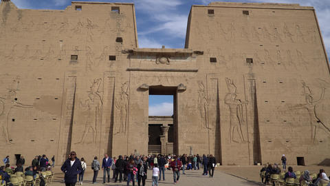 Edfu , Egypt - January 2020: Edfu also spelt Idfu, and known in antiquity as Live Action