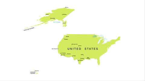 Animation of the map of the United States of America Live Action