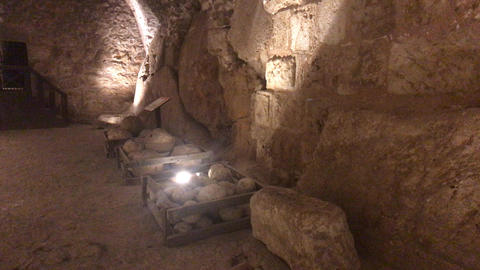 Ajloun, Jordan - stone rooms with illumination in the old castle part 6 Live Action
