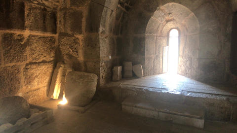 Ajloun, Jordan - stone rooms with illumination in the old castle part 5 Live Action