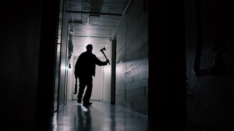 Serial Killer Walking Down Scary Hallway Live Action