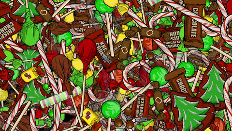 Tons of Christmas Candy Raining Down Backdrop Animation