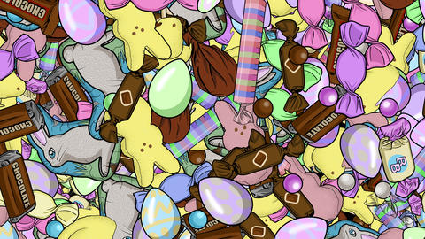 Tons of Easter Candy Raining Down Backdrop Animation