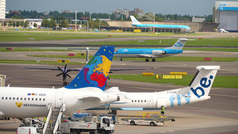 Airplanes in Schiphol airport, Amsterdam Live Action