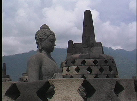 A close-up of an ancient Hindu temple in Indonesia Footage