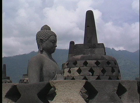 A close-up of an ancient Hindu temple in Indonesia Stock Video Footage