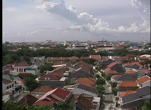 An aerial view of a community of houses with red roofs Stock Video Footage