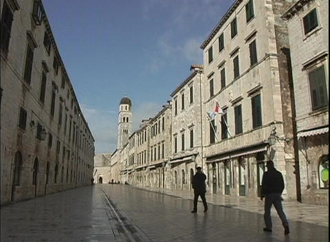 A medium shot of a city street in Dubrovnik, Croatia Stock Video Footage