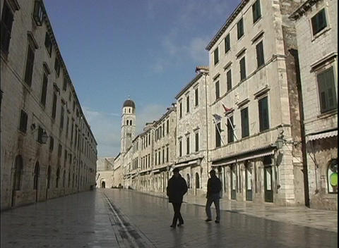 A medium shot of a city street in Dubrovnik, Croatia Footage
