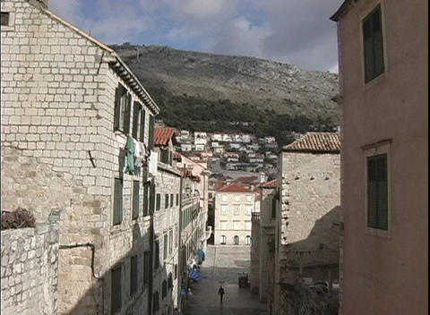 The shot zooms-out from the narrow streets and buildings in Dubrovnik, Croatia Footage
