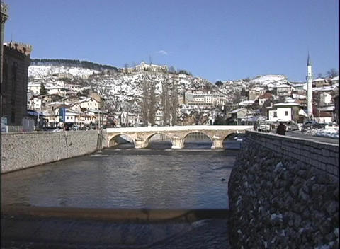 The Winter City, and view of the canal and bridge run through Bosnia Footage