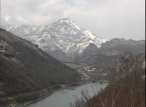 A majestic view of a snow covered, foggy, mountain in Bosnia Stock Video Footage